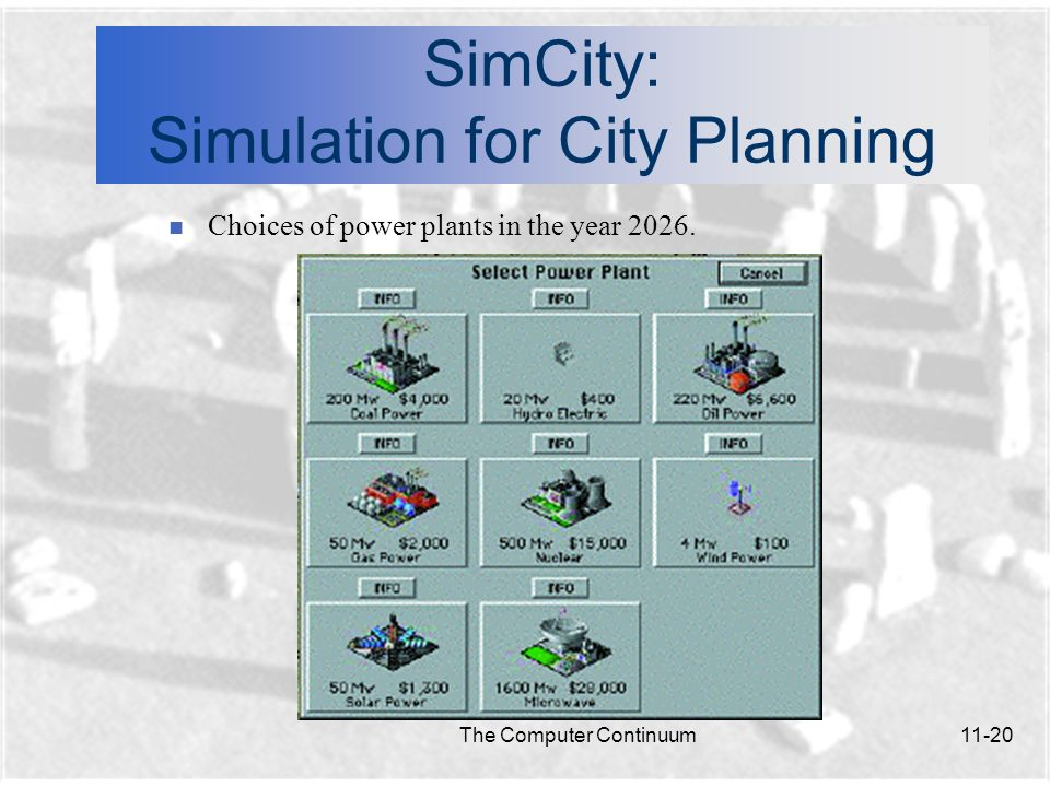 The Computer Continuum11-21 SimCity: Simulation for City Planning n Sims: The people who live in the simulation.