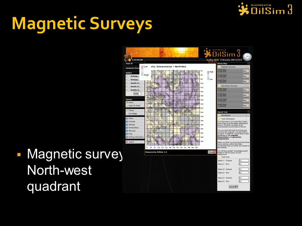 Magnetic Surveys Magnetic survey: North-west quadrant