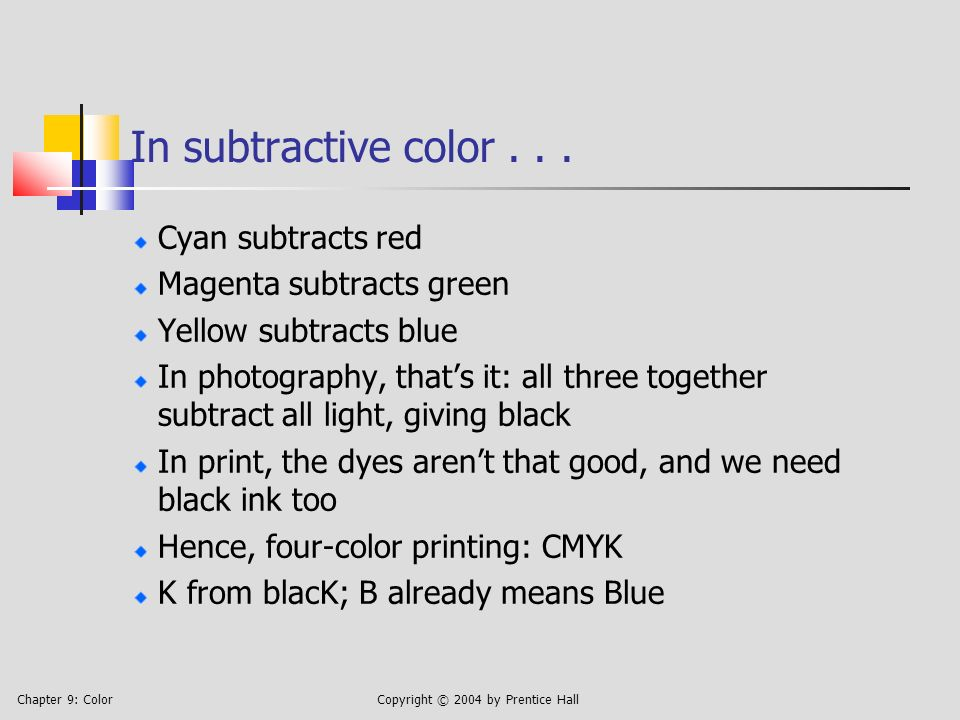 Chapter 9: ColorCopyright © 2004 by Prentice Hall In subtractive color...