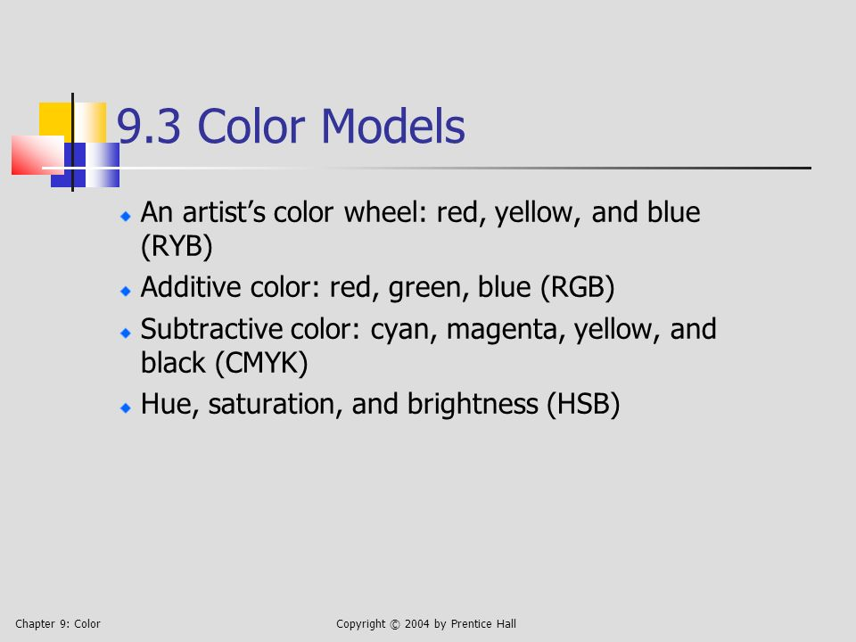 Chapter 9: ColorCopyright © 2004 by Prentice Hall 9.3 Color Models An artists color wheel: red, yellow, and blue (RYB) Additive color: red, green, blue (RGB) Subtractive color: cyan, magenta, yellow, and black (CMYK) Hue, saturation, and brightness (HSB)