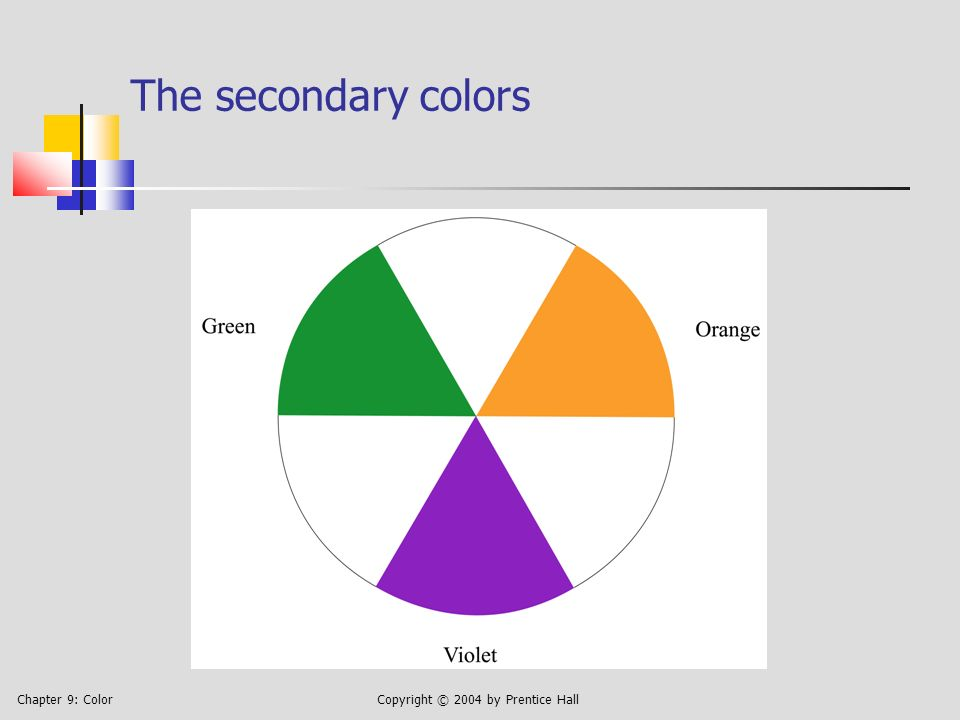 Chapter 9: ColorCopyright © 2004 by Prentice Hall The four color-harmony schemes Monochromatic: colors from one column Complementary: any two colors whose column numbers differ by 6 Analogous: several colors from adjacent columns, with 12 considered next to 1 Triadic: colors from columns: 1, 5, and 9, or 2, 6, and 10, or 3, 7, and 11, or 4, 8, and 12