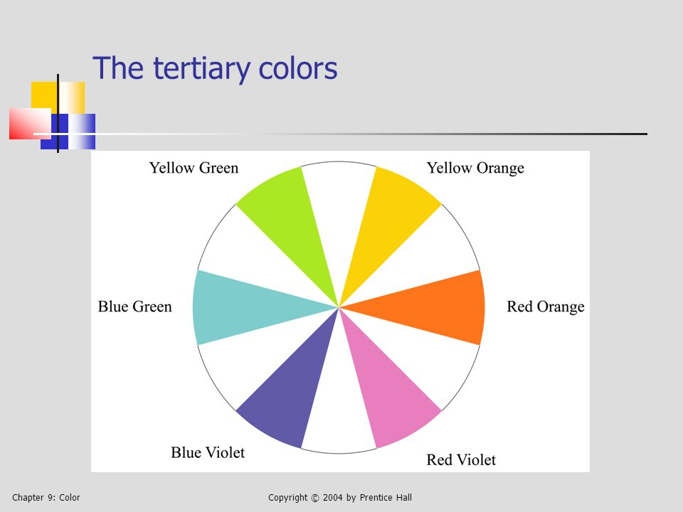 Chapter 9: ColorCopyright © 2004 by Prentice Hall 9.4 Four Color-Harmony Schemes Monochromatic: colors of same or similar hue, differing in brightness and/or saturation Complementary: colors approximately opposite each other on a color wheel Analogous: colors adjacent to each other, from any segment of a color wheel Triadic: three colors approximately equally spaced around a color wheel