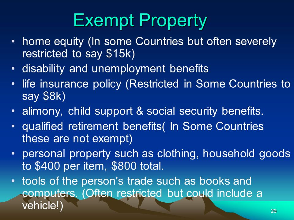 29 Exempt Property home equity (In some Countries but often severely restricted to say $15k) disability and unemployment benefits life insurance polic