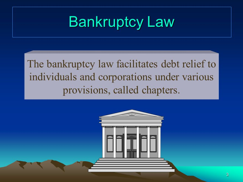 3 Bankruptcy Law The bankruptcy law facilitates debt relief to individuals and corporations under various provisions, called chapters.
