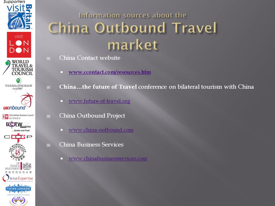 China Contact website   China…the future of Travel conference on bilateral tourism with China   China Outbound Project   China Business Services