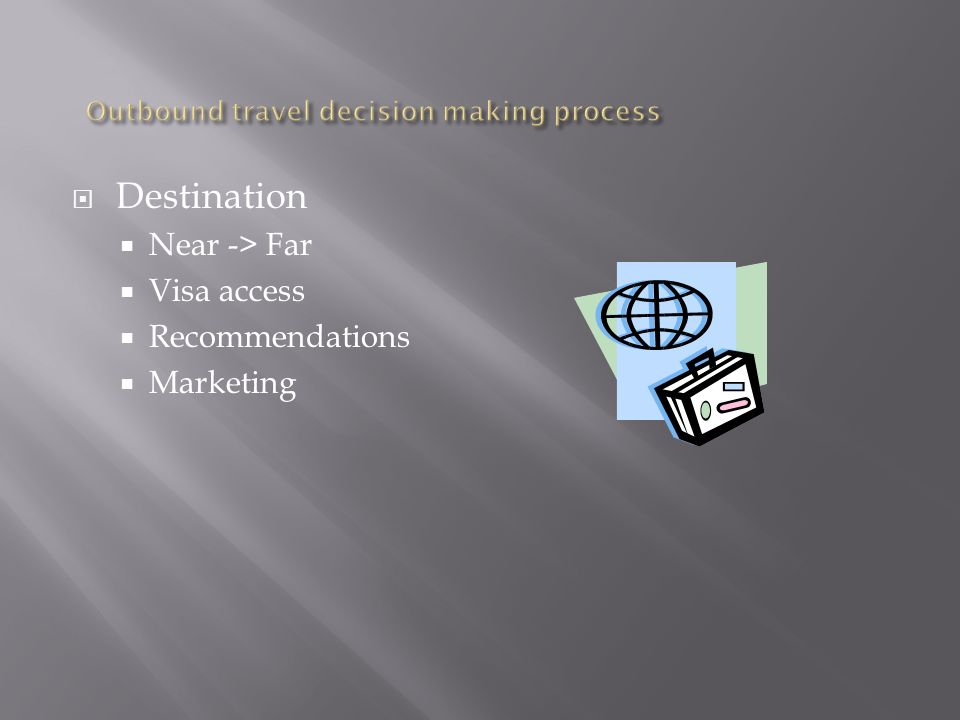 Destination Near -> Far Visa access Recommendations Marketing