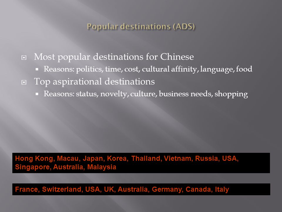 Most popular destinations for Chinese Reasons: politics, time, cost, cultural affinity, language, food Top aspirational destinations Reasons: status, novelty, culture, business needs, shopping Hong Kong, Macau, Japan, Korea, Thailand, Vietnam, Russia, USA, Singapore, Australia, Malaysia France, Switzerland, USA, UK, Australia, Germany, Canada, Italy