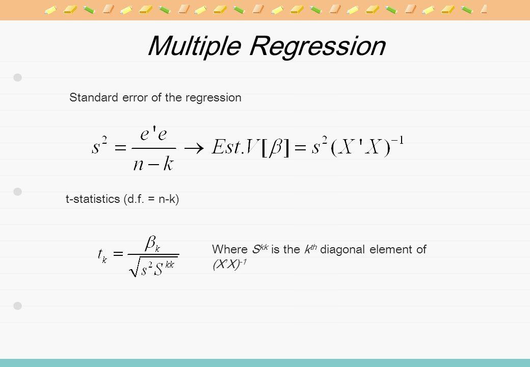 Multiple Regression t-statistics (d.f.