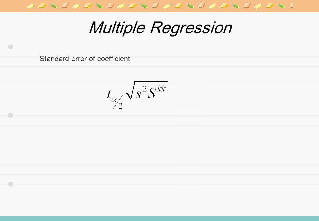 Multiple Regression Standard error of coefficient