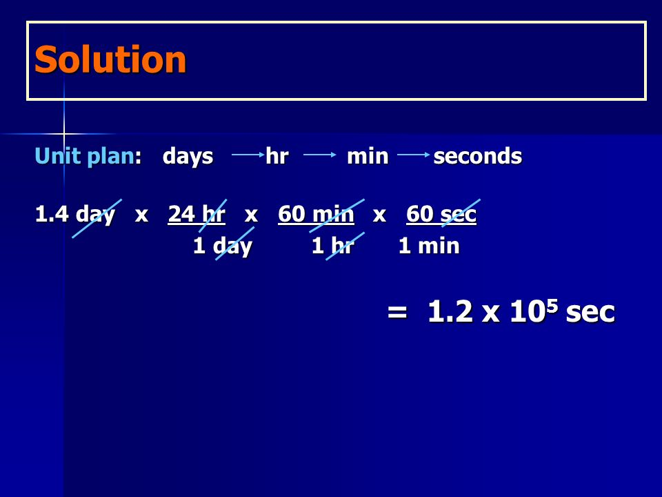 Learning Check How many seconds are in 1.4 days? Unit plan: days hr min seconds 1.4 days x 24 hr x ?? 1 day 1 day