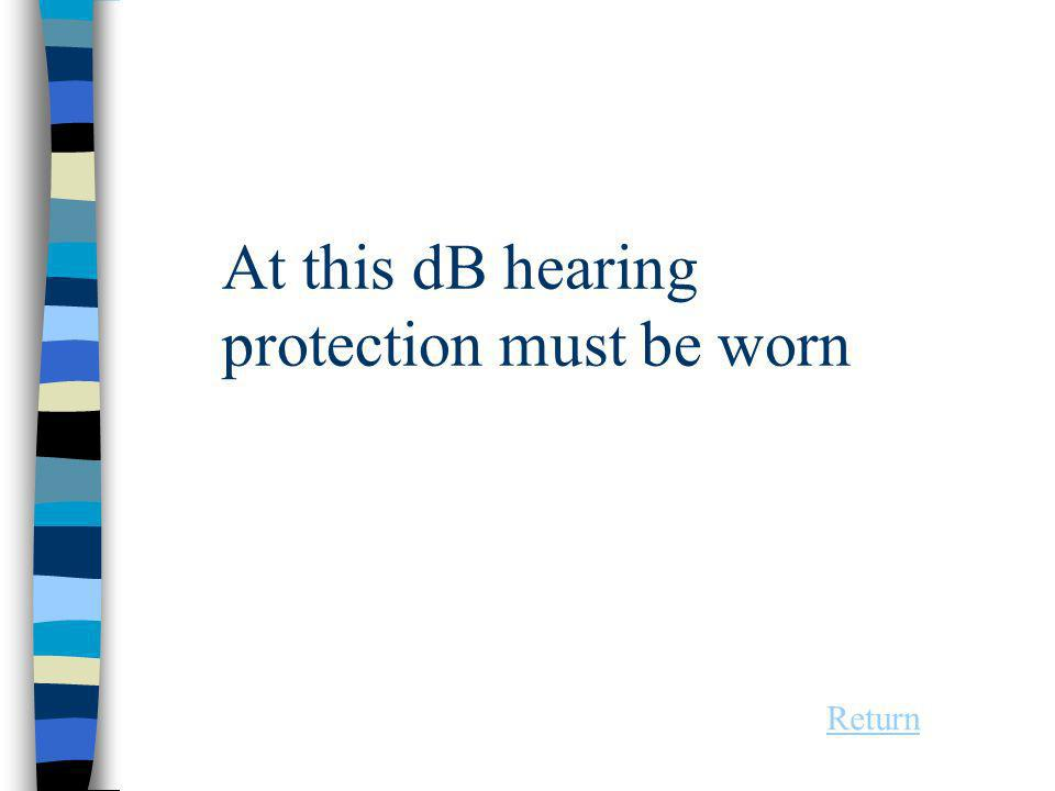At this dB hearing protection must be worn Return