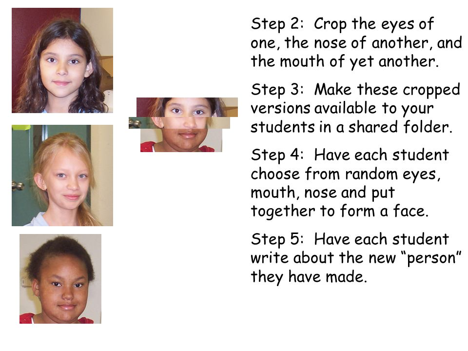 Step 2: Crop the eyes of one, the nose of another, and the mouth of yet another. Step 3: Make these cropped versions available to your students in a s