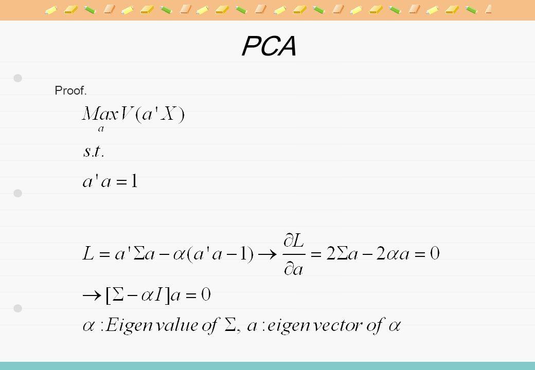 PCA 1. Comparison between V(C i ) Trance and determinant 2. Coefficient of determination of V(C i )