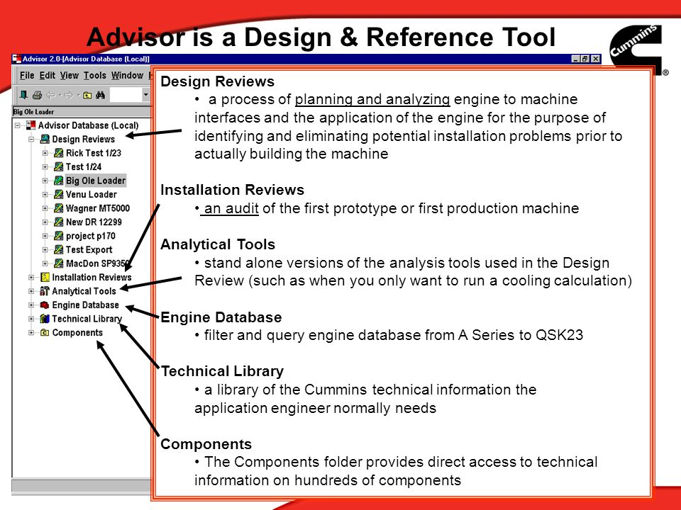 3 Advisor is a Design & Reference Tool Design Reviews a process of planning and analyzing engine to machine interfaces and the application of the engi
