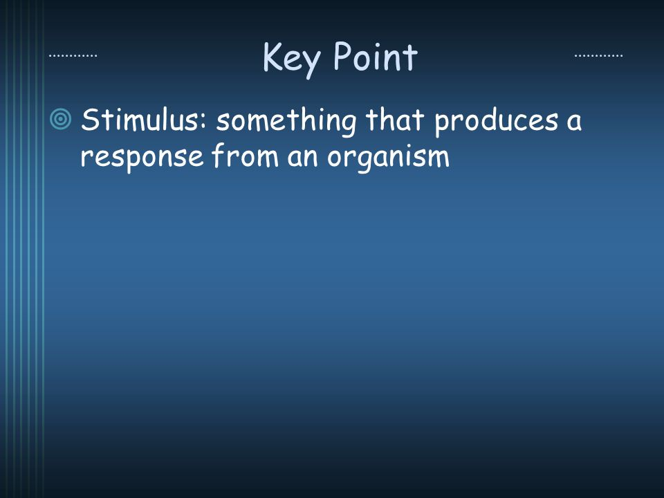 Key Point Stimulus: something that produces a response from an organism