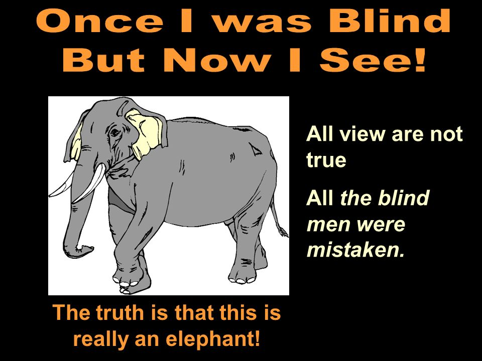 All view are not true All the blind men were mistaken. The truth is that this is really an elephant!