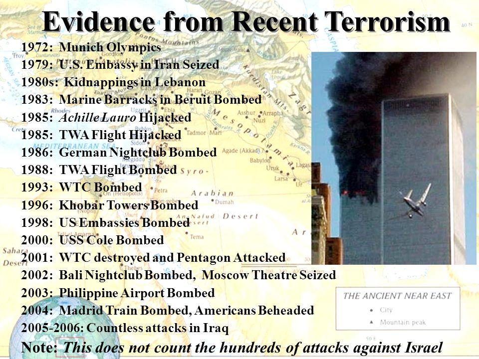 1972: Munich Olympics 1979: U.S. Embassy in Iran Seized 1980s: Kidnappings in Lebanon 1983: Marine Barracks in Beruit Bombed 1985: Achille Lauro Hijac