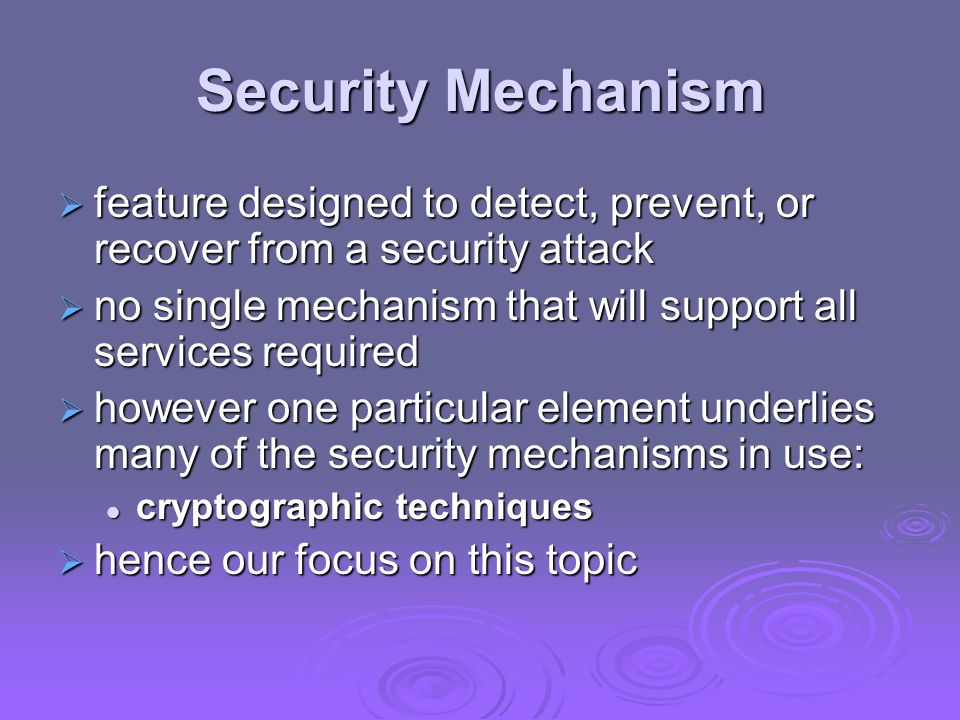 Security Mechanism feature designed to detect, prevent, or recover from a security attack feature designed to detect, prevent, or recover from a secur