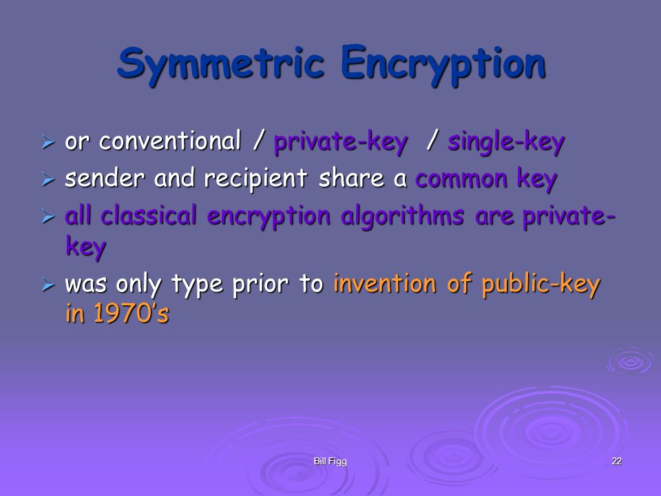 Bill Figg22 Symmetric Encryption or conventional / private-key / single-key or conventional / private-key / single-key sender and recipient share a co