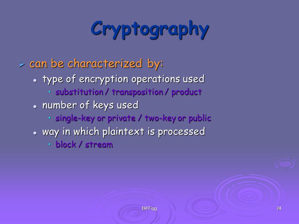 Bill Figg24 Cryptography can be characterized by: can be characterized by: type of encryption operations used type of encryption operations used subst