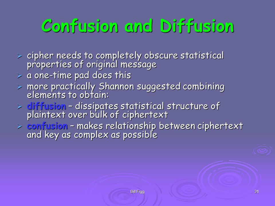 Bill Figg31 Confusion and Diffusion cipher needs to completely obscure statistical properties of original message cipher needs to completely obscure s