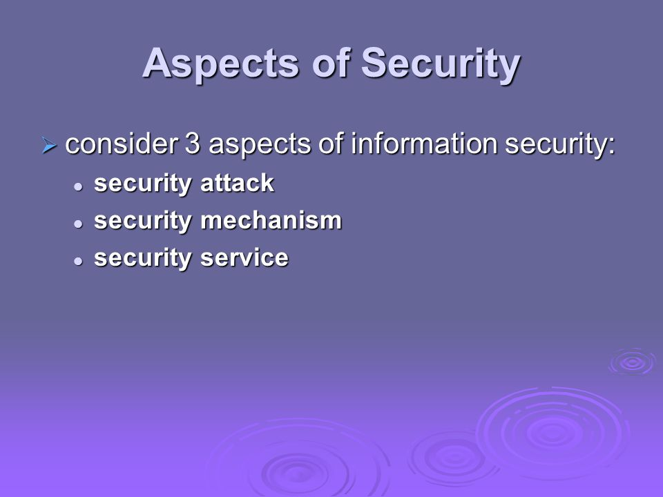 Aspects of Security consider 3 aspects of information security: consider 3 aspects of information security: security attack security attack security m