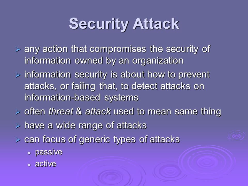 Security Attack any action that compromises the security of information owned by an organization any action that compromises the security of informati