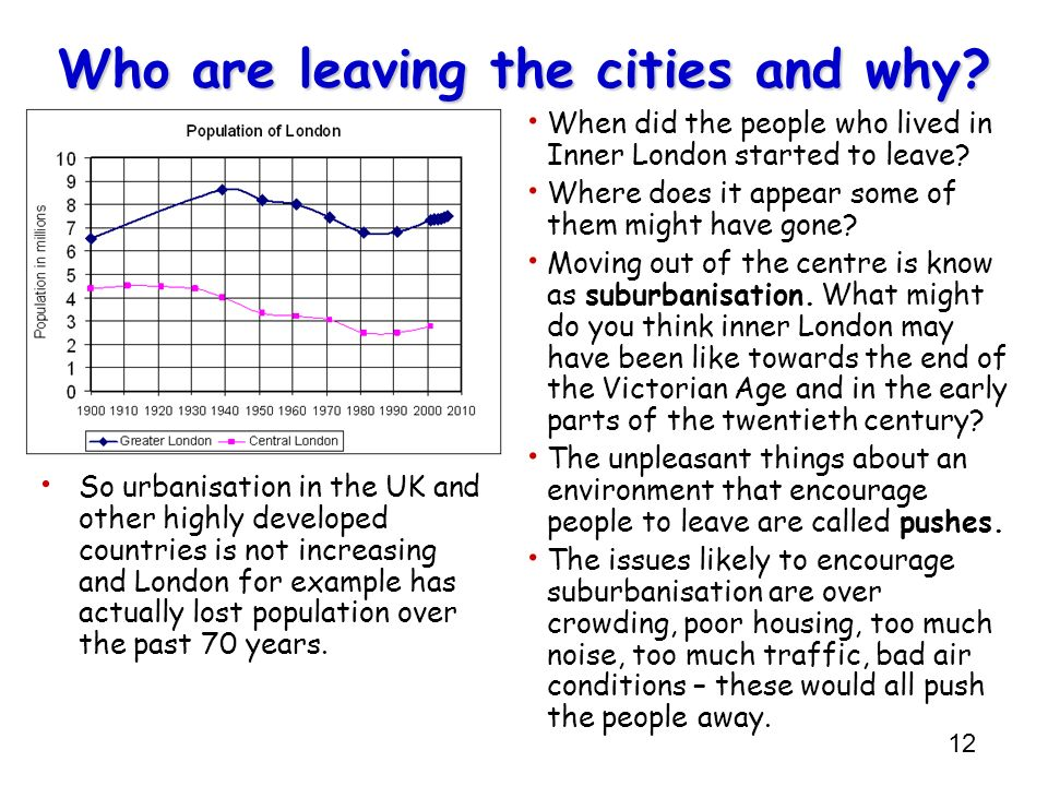 12 Who are leaving the cities and why? When did the people who lived in Inner London started to leave? Where does it appear some of them might have go