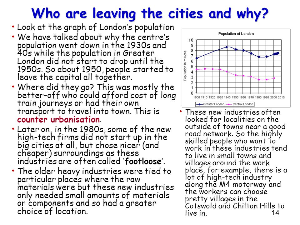 14 Who are leaving the cities and why? Look at the graph of Londons population We have talked about why the centres population went down in the 1930s
