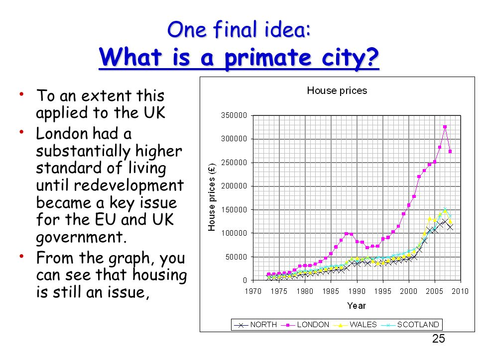 25 One final idea: What is a primate city? To an extent this applied to the UK London had a substantially higher standard of living until redevelopmen