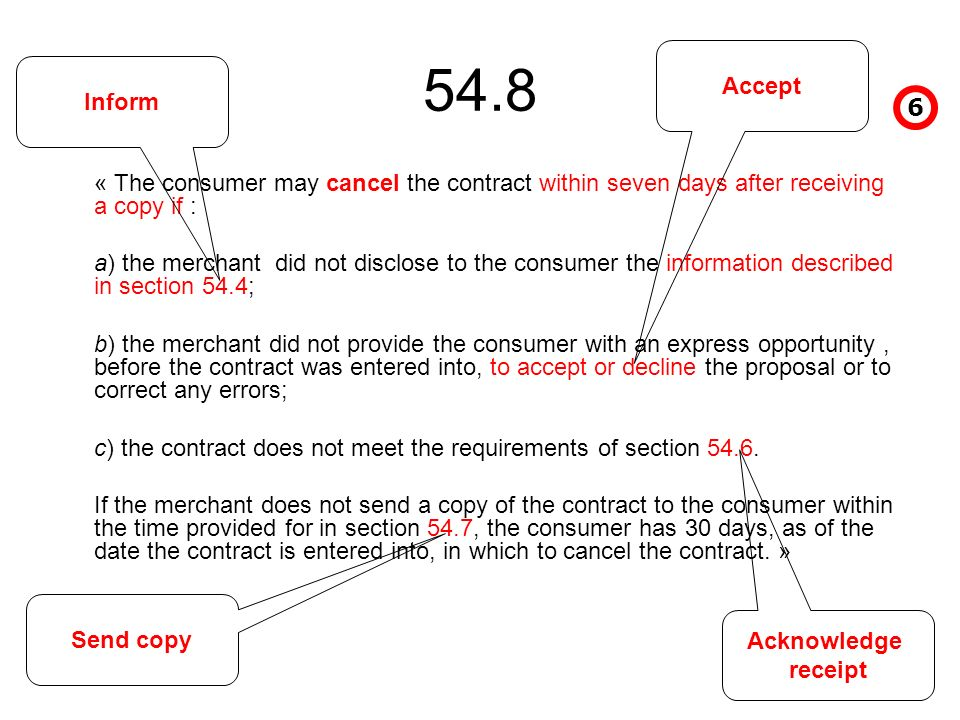 54.8 « The consumer may cancel the contract within seven days after receiving a copy if : a) the merchant did not disclose to the consumer the information described in section 54.4; b) the merchant did not provide the consumer with an express opportunity, before the contract was entered into, to accept or decline the proposal or to correct any errors; c) the contract does not meet the requirements of section 54.6.