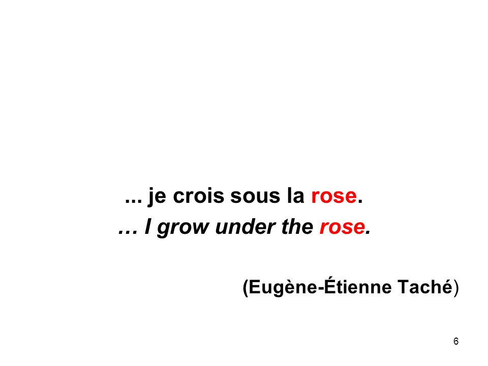 6... je crois sous la rose. … I grow under the rose. (Eugène-Étienne Taché)
