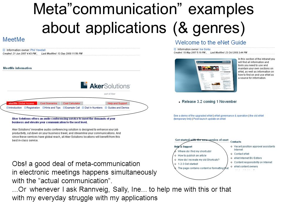 Metacommunication examples about applications (& genres) Obs! a good deal of meta-communication in electronic meetings happens simultaneously with the