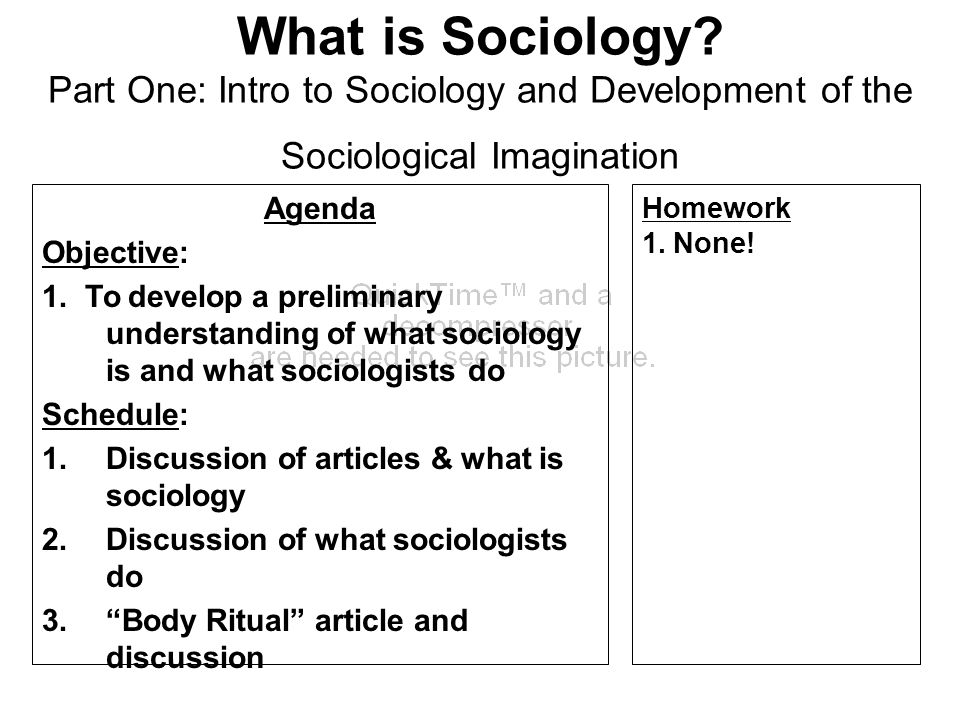 What is Sociology? Part One: Intro to Sociology and Development of the Sociological Imagination Agenda Objective: 1. To develop a preliminary understa