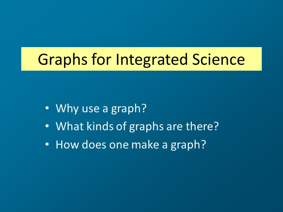 Graphs for Integrated Science Why use a graph? What kinds of graphs are there? How does one make a graph?