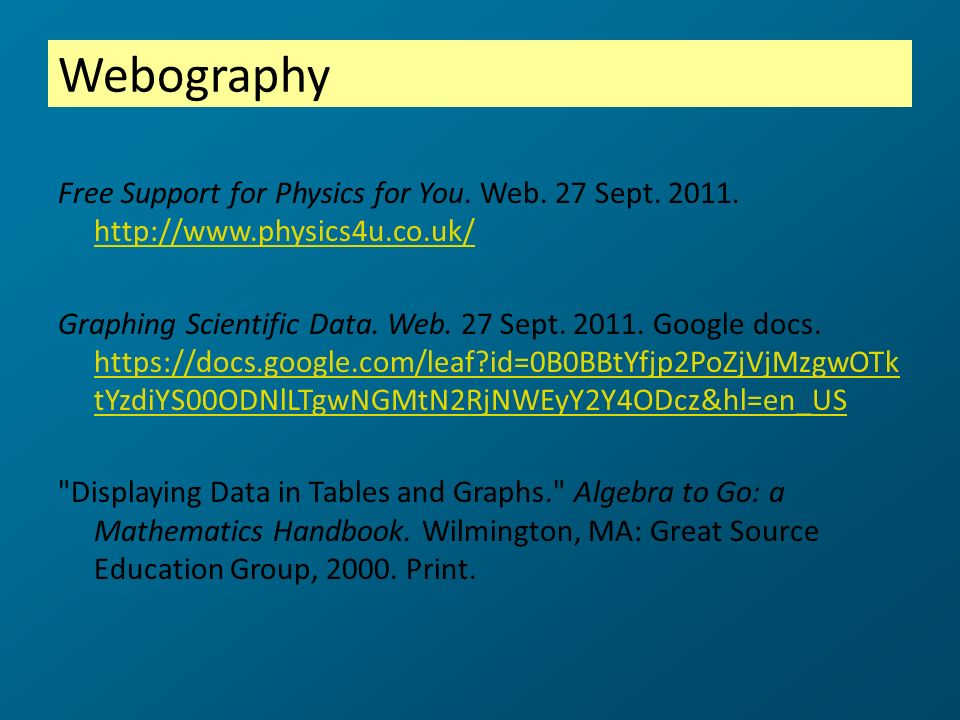 Webography Free Support for Physics for You. Web. 27 Sept. 2011. http://www.physics4u.co.uk/ http://www.physics4u.co.uk/ Graphing Scientific Data. Web