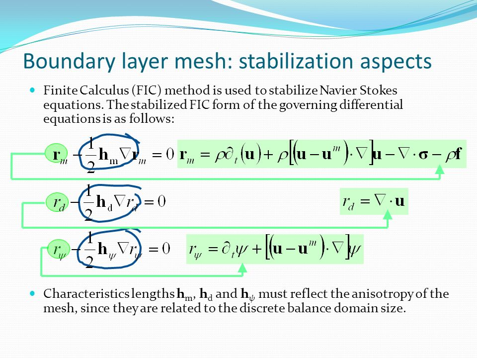 Boundary layer mesh: stabilization aspects Finite Calculus (FIC) method is used to stabilize Navier Stokes equations. The stabilized FIC form of the g