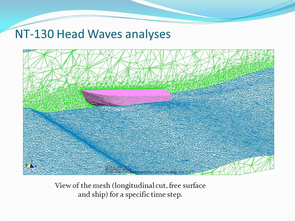 NT-130 Head Waves analyses View of the mesh (longitudinal cut, free surface and ship) for a specific time step.