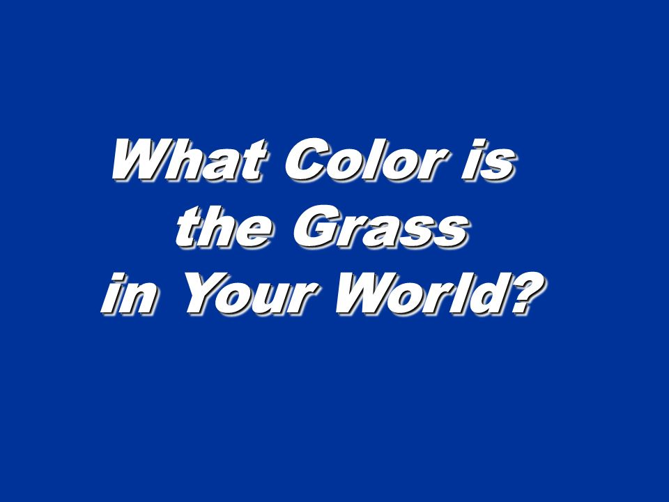 What Color is the Grass in Your World What Color is the Grass in Your World