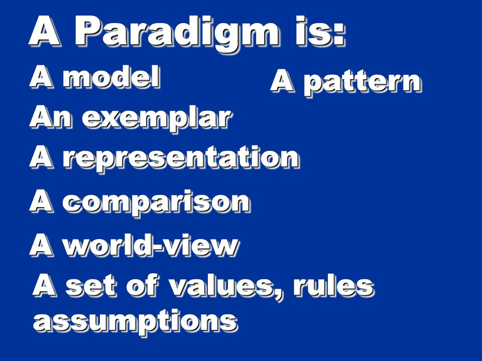A Paradigm is: A model A pattern An exemplar A representation A comparison A world-view A set of values, rules assumptions assumptions