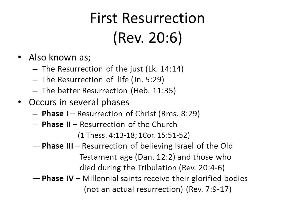 First Resurrection (Rev. 20:6) Also known as; – The Resurrection of the just (Lk.