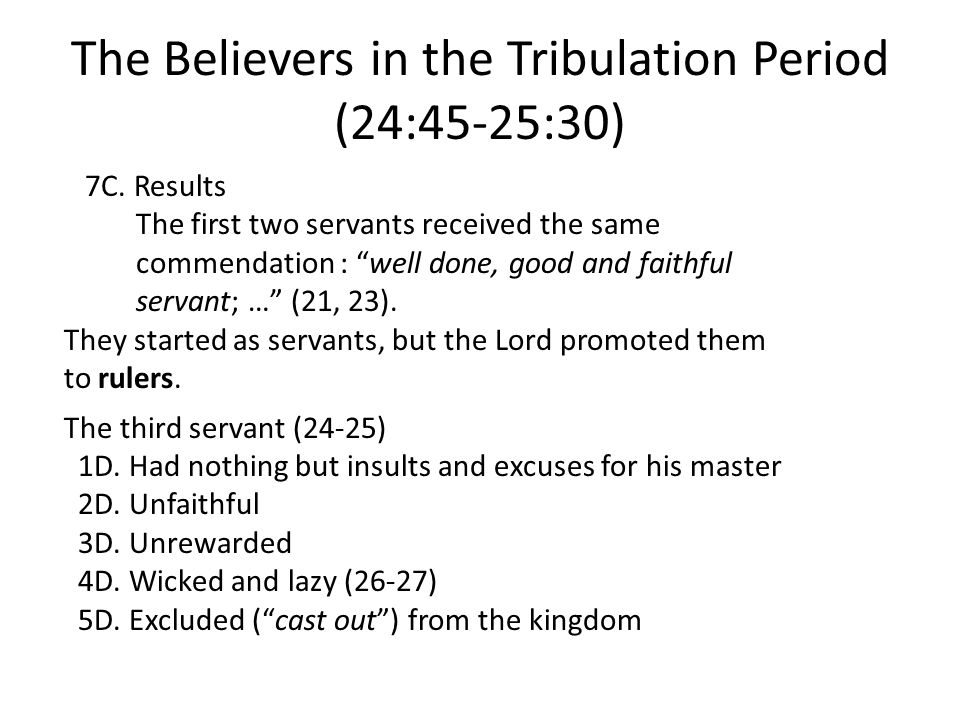 The Believers in the Tribulation Period (24:45-25:30) 7C.