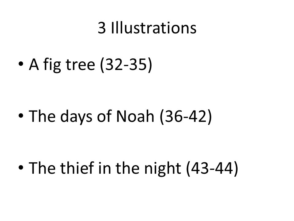 3 Illustrations A fig tree (32-35) The days of Noah (36-42) The thief in the night (43-44)