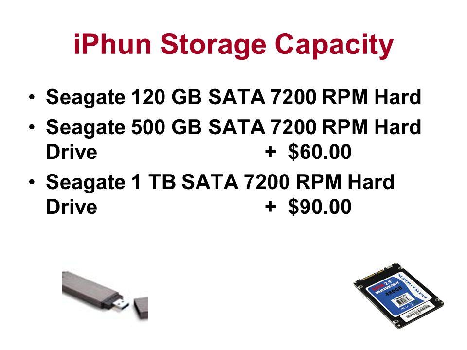 iPhun Storage Capacity Seagate 120 GB SATA 7200 RPM Hard Seagate 500 GB SATA 7200 RPM Hard Drive + $60.00 Seagate 1 TB SATA 7200 RPM Hard Drive + $90.00