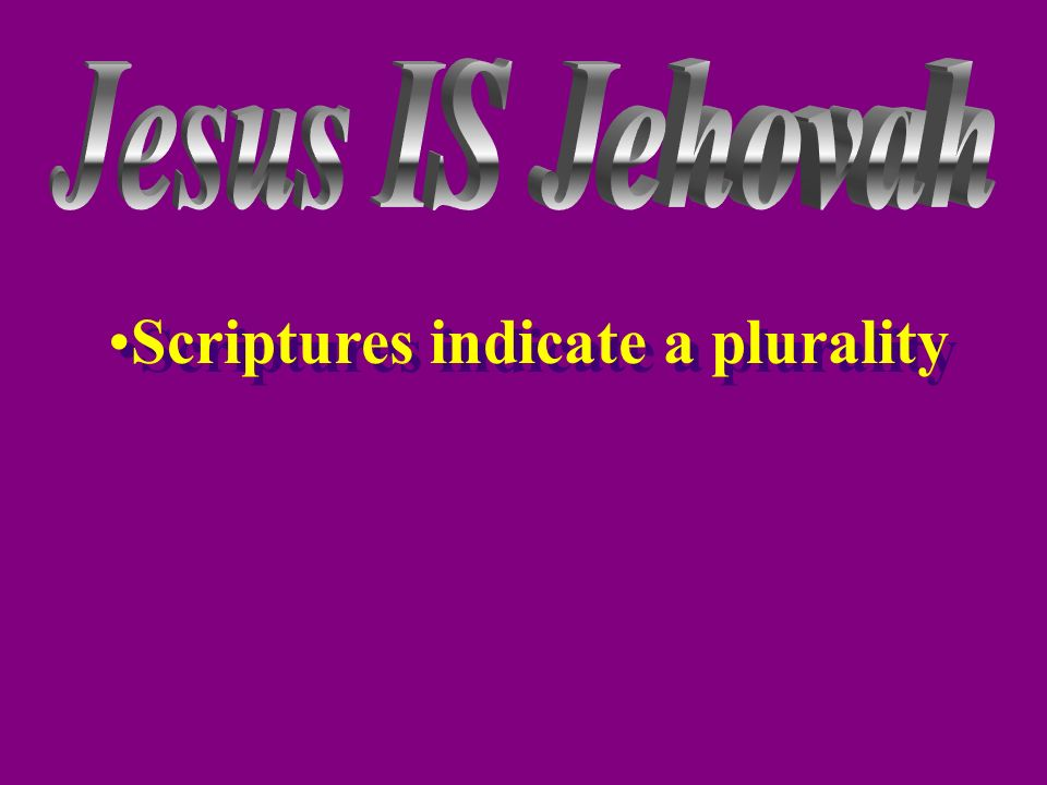 Scriptures indicate a plurality
