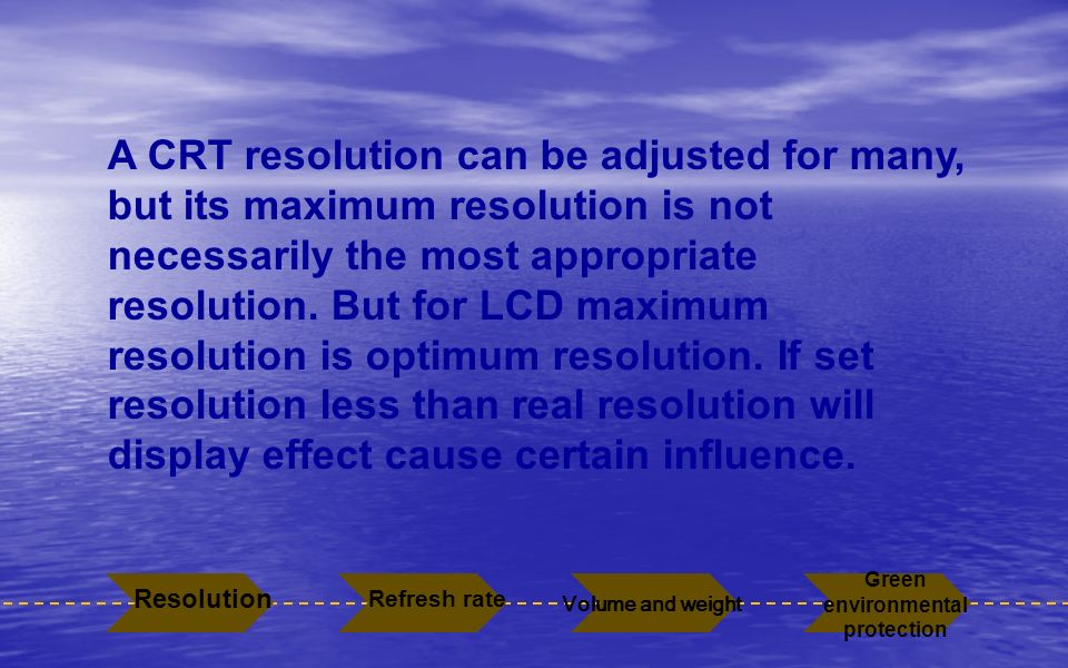 A CRT resolution can be adjusted for many, but its maximum resolution is not necessarily the most appropriate resolution. But for LCD maximum resoluti