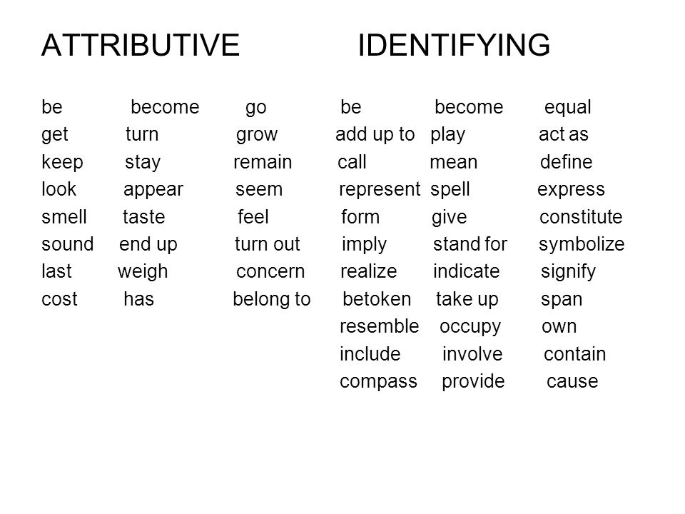 ATTRIBUTIVE IDENTIFYING be become go be become equal get turn grow add up to play act as keep stay remain call mean define look appear seem represent spell express smell taste feel form give constitute sound end up turn out imply stand for symbolize last weigh concern realize indicate signify cost has belong to betoken take up span resemble occupy own include involve contain compass provide cause