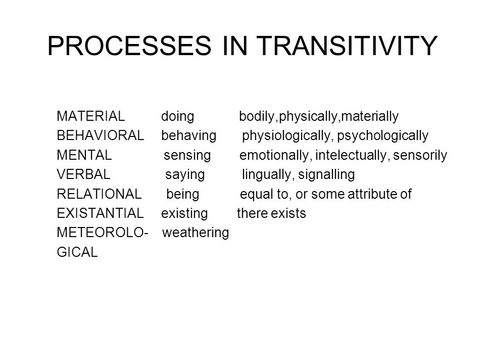 PROCESSES IN TRANSITIVITY MATERIAL doing bodily,physically,materially BEHAVIORAL behaving physiologically, psychologically MENTAL sensing emotionally, intelectually, sensorily VERBAL saying lingually, signalling RELATIONAL being equal to, or some attribute of EXISTANTIAL existing there exists METEOROLO- weathering GICAL
