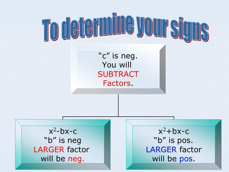c is neg. You will SUBTRACT Factors. x 2 -bx-c b is neg LARGER factor will be neg. x 2 +bx-c b is pos. LARGER factor will be pos.