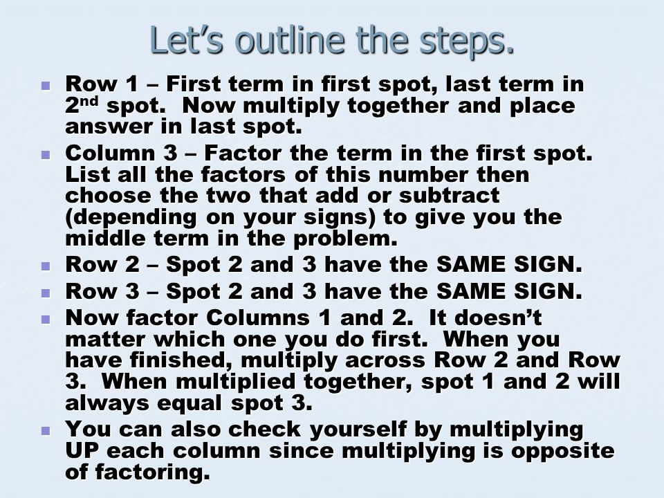Lets outline the steps. Row 1 – First term in first spot, last term in 2 nd spot. Now multiply together and place answer in last spot. Row 1 – First t